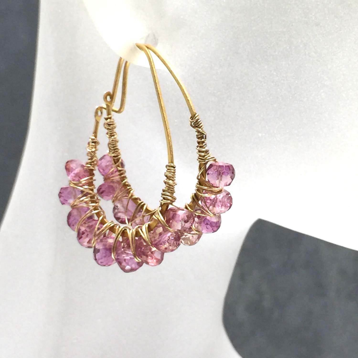 earrings hoop pink topaz 14k gf wire wrapped earrings luxe