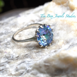 Mystic Topaz & Sterling Silver Handcrafted Ring Size 7.75