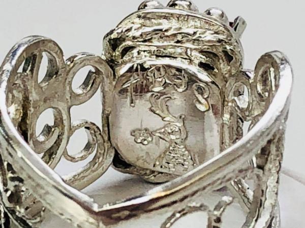 Ruby Filigree Ring Showing Hallmark