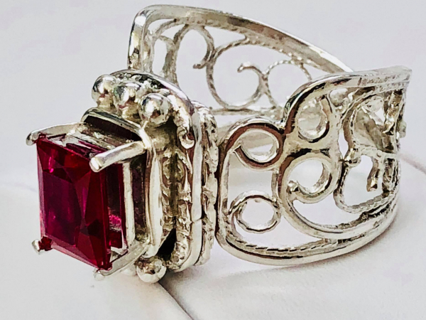Ruby Filigree Ring Argentium Side View