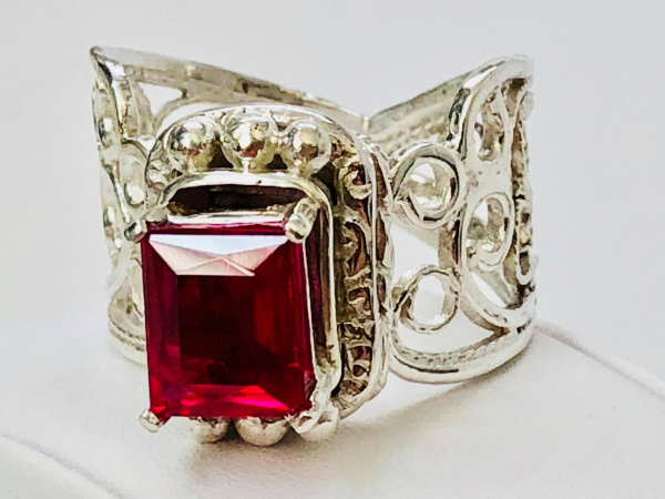 Ruby Filigree Ring Argentium Front Prongs
