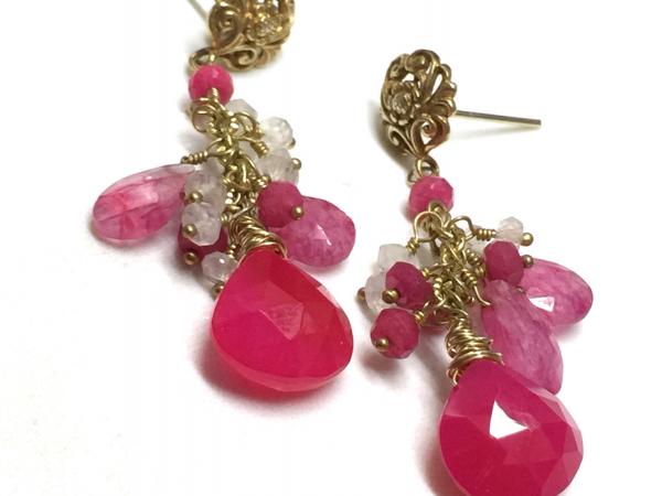 Fuchsia Pink Chalcedony & Pink and Rainbow Moonstone Dangle Earrings