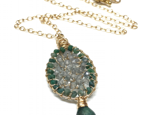 Emeralds & Moss Aquamarine 14k GF Circle of Love