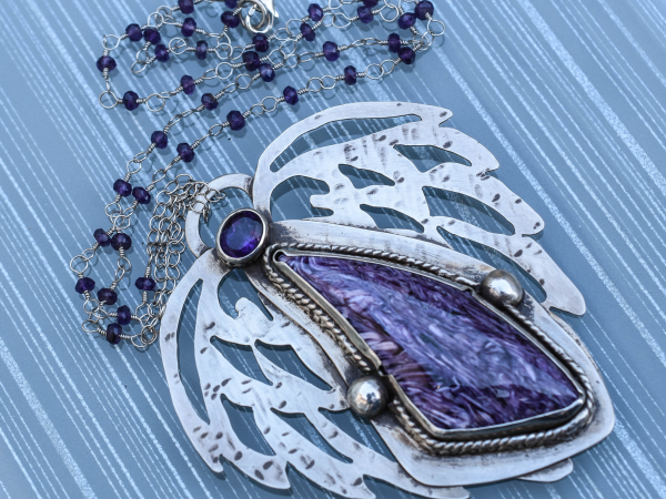 Russian Charoite Amethyst Silver Angel Girl Collection
