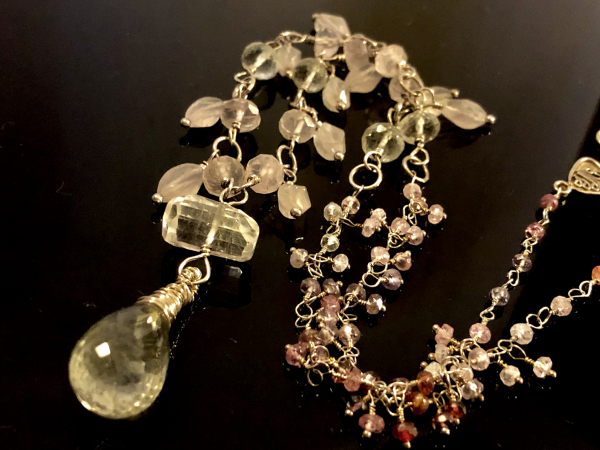 PENDANT GREEN AMETHYST ROSE QUARTZ STERLING SILVER WIRE WRAP HANDMADE CHAIN LUXE