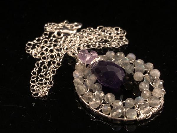 Labradorite & Amethyst Necklace Handmade Circle of Love