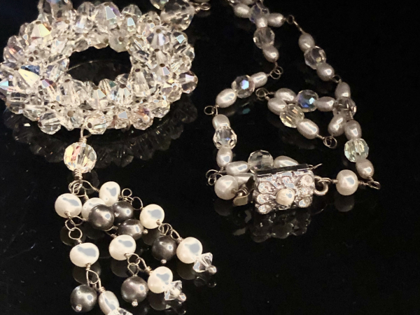 Vintage Dreams Crystals Freshwater Pearls Wedding Statement Necklace