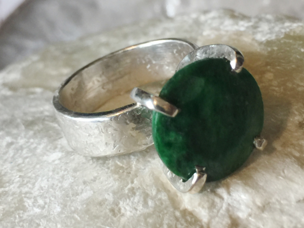 Natural Emerald & Sterling Silver Handcrafted Ring Size 7.75