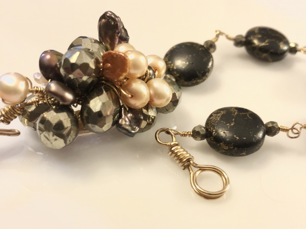 Love You Forever, Freshwater Pearl, Pyrite, Black Turquoise Handmade Artisan