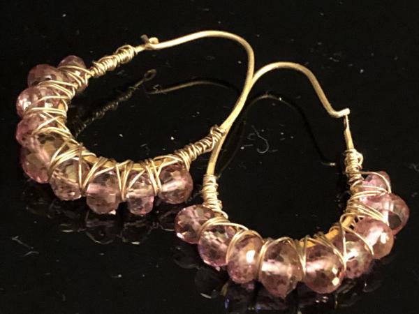 Pink Topaz Hoop Earrings