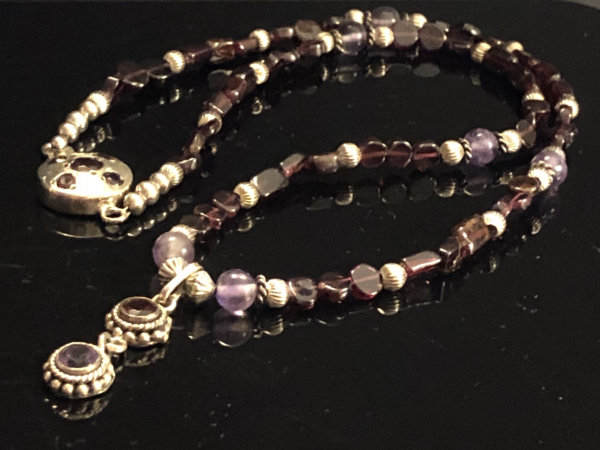 Garnet and Amethyst Pendant Necklace