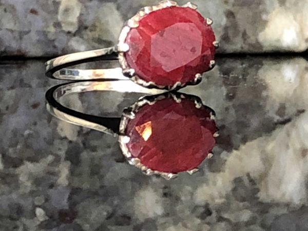Natural Ruby Red & Sterling Silver Handcrafted Ring Size 5.5