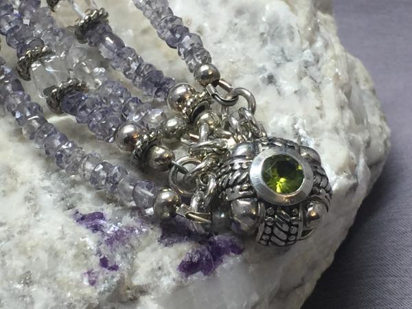 denim blue, quartz, peridot, sterling , bracelet, bohemian, bride, fashionista