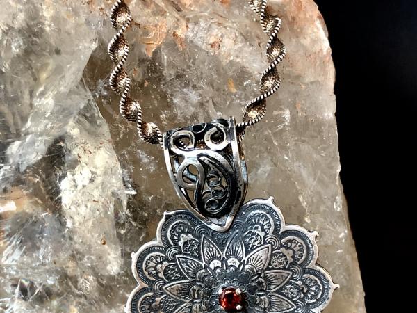 Garnet Mandala Necklace Fine Silver Handmade Italian Silver Chain