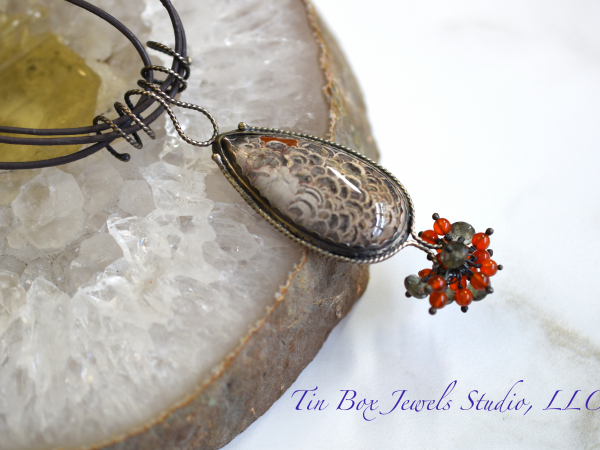 Mushroom Jasper Carnelian Leather Moss Aquamarine Organic Peacock Necklace