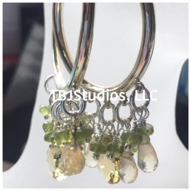 Hoop Earrings Citrine Lemon Quartz Vesuvianite Sterling Silver