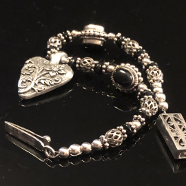 Pursuit of Happiness Heart Bracelet Sterling Silver Onyx & Pewter