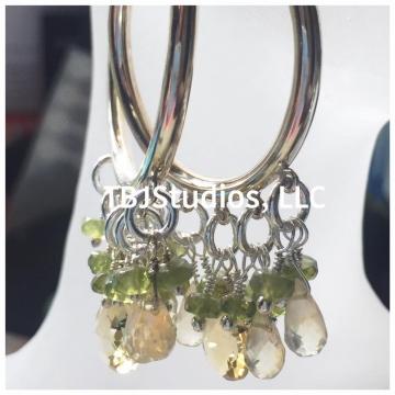 "SOLD Earrings Hoop Citrine Lemon Quartz Vesuvianite Sterling Silver Wire Wrapped Earrings Luxe Jewelry Wedding Bride Gemstones 2.50"""