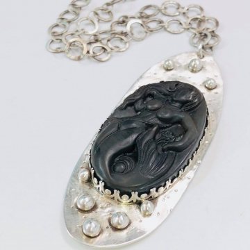 Carved Brown Agate Mermaid Silversmith Necklace Argentium Sterling Silver Handmade Jewelry