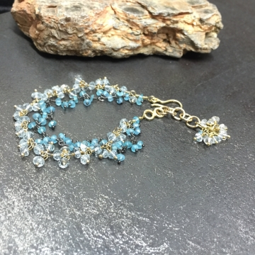 SOLD  Bracelet Aquamarine & Blue Topaz 14K GF Double Strand Fringe Bracelet Luxe Wedding Wire Wrapped Bohemian