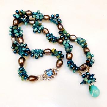 SOLD Peruvian Sea Petals Blue Topaz, Peruvian Blue Chalcedony, Peruvian Opal, FWPearls, Crystals, London Blue Quartz, Luxe Wedding Ocean Teal