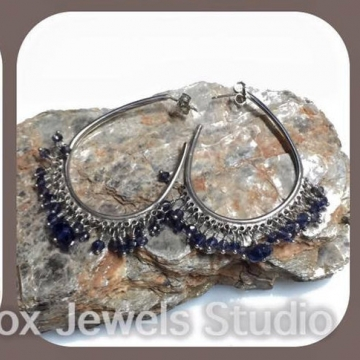 "SOLD Iolite Water Sapphire Sterling Silver Wire Wrapped Hoop Earrings Luxury Luxe Boho Elegant Jewelry Wedding Blue Denim Purple Gemstones 2"""