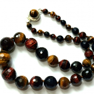 """SOLD Tiger Eye Fall Colors Sterling Hand Knotted on Silk 18"""" Necklace Luxe Jewelry Brown Red Golden Blue"""