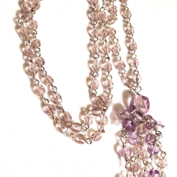 SOLD Mystic Pink Quartz, Pink Amethyst  & Amethyst Crystal  Necklace - Finished Length is 18 inch with a 2 inch tassel
