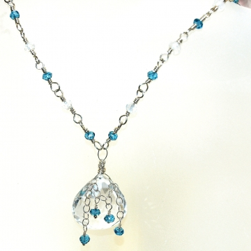 SOLD  Necklace Pendant London Blue Quartz Rock Quartz Crystal Heart Briolette & Sterling Silver Vintage Modern Necklace Tassel Collection