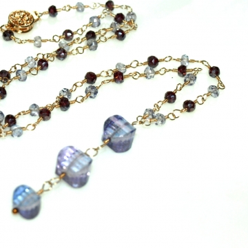 SOLD  Necklace Pendant Purple Tanzanite & Garnet Wire Wrapped Handmade Chain Gold Necklace Wedding Jewelry TBN079