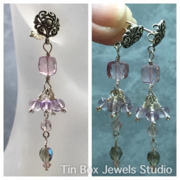 SOLD Earrings Mystic Pink Rock Quartz & Pink Amethyst Wire Wrapped Tassel Earrings