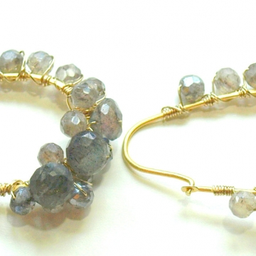 "SOLD Earrings Hoop Labradorite AB Gold Wire Wrapped Earrings Luxe Jewelry Wedding Bride Kidney Hoops Grey Gemstones 1.50"""