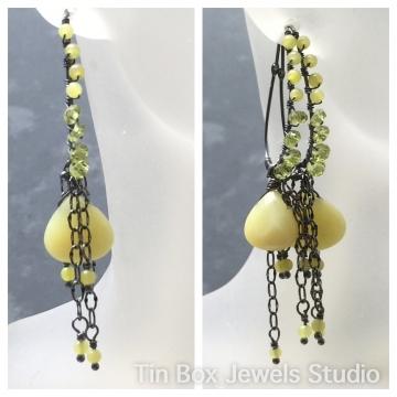 """SOLD Earrings Olive Jade & Peridot Chandelier Earrings Luxe Jewelry Boho Gypsy 3.0"""""""