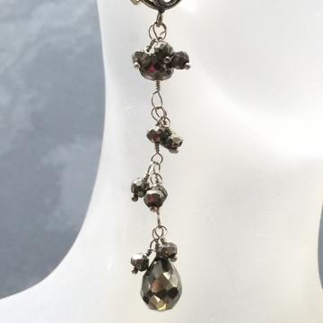 SOLD Earrings Black Pyrite Dark & Romantic Sparkly Pyrite Chains Dangle Sterling Post Earrings Teardrop Black Jewelry Fools Gold TBE113
