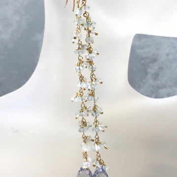 "SOLD  Sky Blue Topaz Shoulder Sweep Mystic Topaz Dusters 14K GF Fringe Wrapped Earrings Luxe Jewelry Wedding Blue 5.0"""