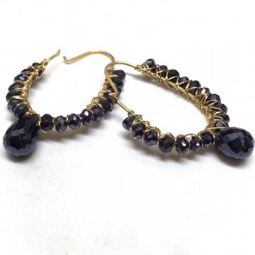 """SOLD Earrings Hoop Mystic Black Spinel Gold Luxe Jewelry Wedding Bride Kidney Hoops Black Gemstones Layaway 1.50"""""""