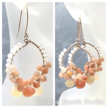 """SOLD Earrings Hoop Rainbow Moonstone Peaches & Cream Dessert Cool Refreshing Hoop Sterling Earrings Luxe Jewelry Beach Boho 2.0"""""""