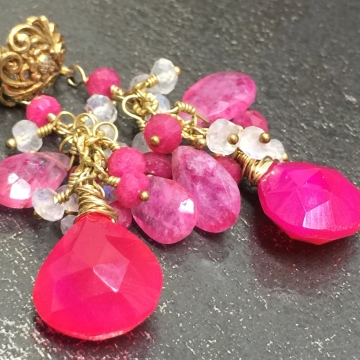 SOLD Earrings Fuchsia Pink Chalcedony & Pink and Rainbow Moonstone Dangle Earrings Wedding Luxe Jewelry