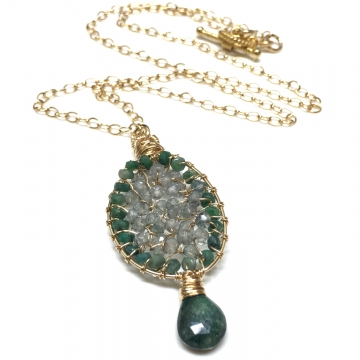 SOLD Emeralds & Moss Aquamarine 14k GF Circle of Love Luxe Pendant Green Wedding 18""