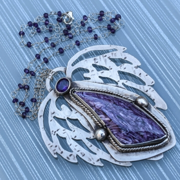 SOLD - Russian Charoite and Amethyst Healing Angel Girl Silversmith Necklace Argentium Silver Sterling & Fine Silver Handmade Jewelry
