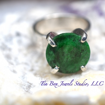 SOLD Natural Columbian Emerald & Argentium Silver Handcrafted Ring Luxe Silversmith Jewelry Ring Size US 7.75