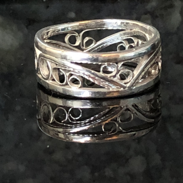 Filigree Band Argentium Silver Fine Silver Wide Band Silversmith Jewelry Ring Size US 10.5-11