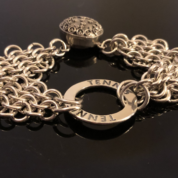 Sterling Silver Bracelet Chain Maille Diamonds Are A Girls Best Friend 16 Gauge Magnetic Clasp 7 inches