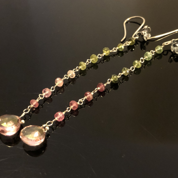 """Earrings Shoulder Sweep Pink Green Tourmaline Sterling Silver Wrapped Luxe Jewelry Wedding Blue Flash Rainbow 4.0"""""""