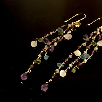 "Earrings Shoulder Sweep Amethyst Moonstone Peridot Apatite Dusters 14KGF Fringe Wrapped Gold Earrings Luxe Jewelry Wedding Blue 5.0"""