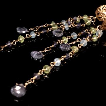 "Iolite Briolettes Peridot Apatite Iolite 14K GF Fringe Wrap Gold Earrings 24K Vermeil Post Luxe Jewelry Wedding Blue Flash Rainbow 3.0"""