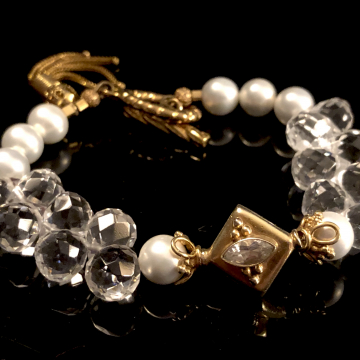 """Bracelet White Topaz Shell Pearls & Quartz Crystal Luxe Wedding Wire Wrapped 7.5"""""""