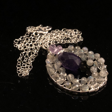 Mystic Labradorite Pink Amethyst & Amethyst Circle of Love Sterling Silver Handmade Wirewrapped Pendant Luxe Jewelry