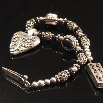 Bracelet Sterling Silver Bracelet with Pewter Heart Black Onyx Sterling Pursuit of Happiness Modern Vintage Luxe Dark & Romantic