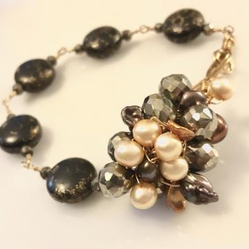 Bracelet Love You Forever, Freshwater Pearl, Pyrite, Black Turquoise Handmade Artisan